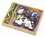 CHILDRENS CHILD MELISSA AND DOUG FARM ANIMALS WOODEN PANELS AND LACES ACTIVITIES